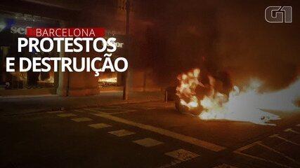 Primeiro dia dos protestos em Barcelona