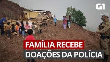 Policiais fazem doações para família flagrada em mudança irregular no Oeste de SC