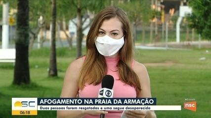 Homem desaparece em praia de Florianópolis; duas pessoas são resgatadas