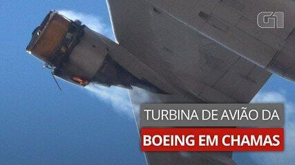 VÍDEO: Imagens mostram turbina de avião da Boeing em chamas