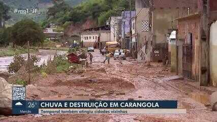 Mais de mil pessoas ficam desalojadas após temporal em Carangola