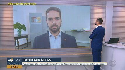Governador Eduardo Leite fala sobre as novas medidas restritivas no RS