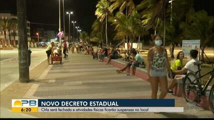 Novo decreto fecha orla e suspende atividades físicas no local, em João Pessoa