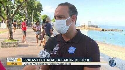 Guarda Municipal reforça fiscalização durante fechamento das praias de Salvador