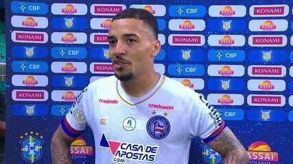 Gregore, de saída do Bahia, fala da felicidade da vitória na última rodada sobre o Santos