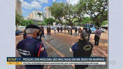 Pessoas sem máscara são multadas em mil reais em Maringá