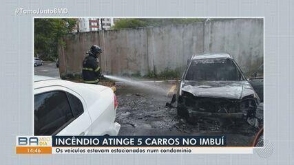 Incêndio atinge carros em estacionamento de condomínio no bairro do Imbuí, em Salvador