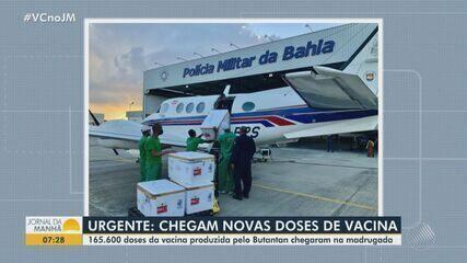 Bahia recebe nova remessa com mais de 165,6 mil vacinas contra a Covid-19
