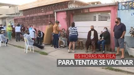 VÍDEO: Fila para vacinação contra Covid-19 em Pedro Leopoldo tem mais de 12 horas de espera