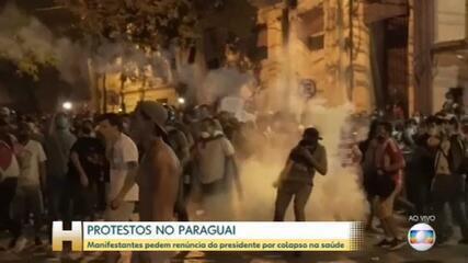 Manifestantes pedem renúncia do presidente do Paraguai por colapso na Saúde