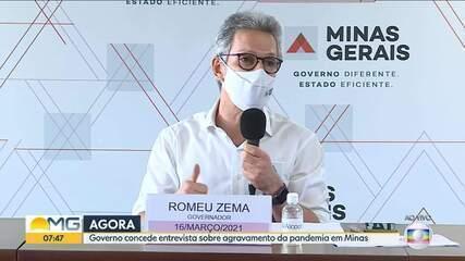 Governador Romeu Zema (Novo) fala sobre o agravamento da pandemia em Minas