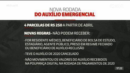 Depósitos do novo auxílio emergencial começam em abril de 2021