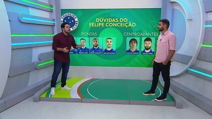 Confira as dúvidas de Felipe Conceição para escalação dos pontas e centroavantes do Cruzeiro