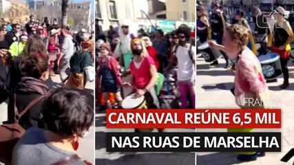 Carnaval reúne 6,5 mil nas ruas de Marselha, na França