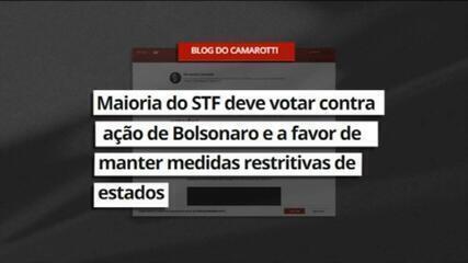 Camarotti: Maioria do STF deve votar contra ação de Bolsonaro que tenta derrubar medidas restritivas estaduais