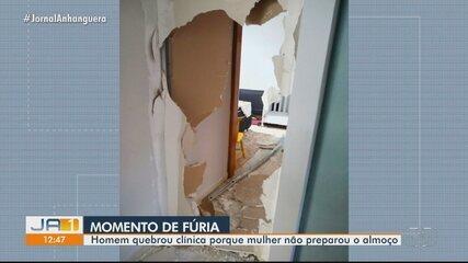 Homem quebra clínica da mulher por ela não ter feito almoço, em Aparecida de Goiânia