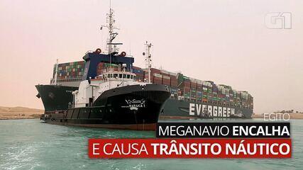 VÍDEO: Meganavio encalha e causa trânsito náutico no Canal de Suez, no Egito
