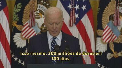 Biden dobra meta e quer aplicar 200 milhões de vacinas contra a Covid em 100 dias