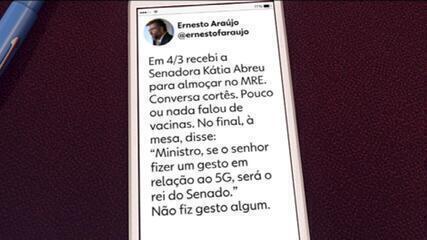 Ernesto Araújo diz que senadora Kátia Abreu sugeriu gesto por 5G