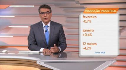 Indústria brasileira recua 0,7% em fevereiro e registra 1ª queda após nove altas seguidas