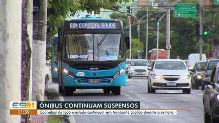 Transporte público segue suspenso por mais uma semana no ES