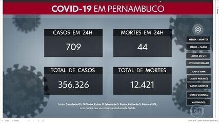 Pernambuco confirma mais 709 casos e 44 mortes por Covid-19