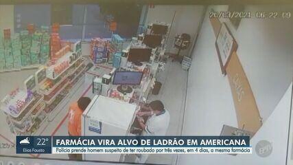 Imagens mostram roubo em farmácia de Americana; suspeito foi preso