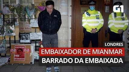 VÍDEO: embaixador de Mianmar no Reino Unido é proibido de entrar na embaixada de Londres