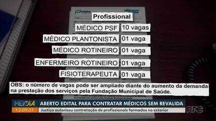 Prefeitura de Ponta Grossa abre edital para contratar médicos sem o revalida