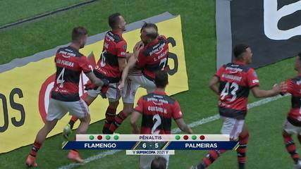 Os pênaltis de Flamengo 2 (6) x (5) 2 Palmeiras, pela Supercopa do Brasil 2021