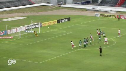 Os gols de CRB 1 x 1 Altos: Diego Torres marca de falta
