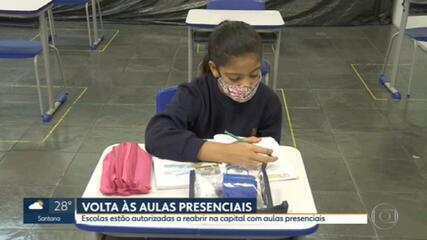 Escolas estão reabrindo nesta segunda (12) na capital e cidades que autorizaram a volta às aulas