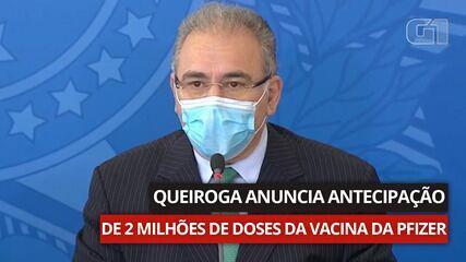 VÍDEO: Marcelo Queiroga anuncia antecipação de doses da vacina da Pfizer