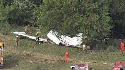 Globocop sobrevoa região onde avião caiu, no Aeroporto da Pampulha