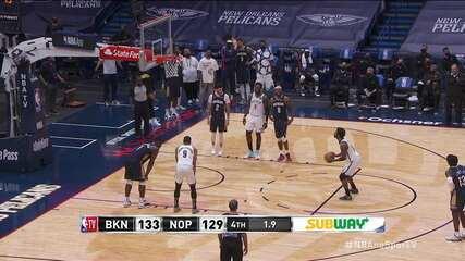 Melhores momentos: New Orleans Pelicans 129 x 134 Brooklyn Nets, pela NBA