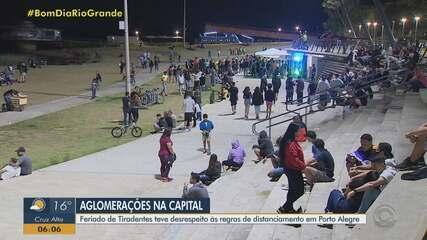 Feriado de Tiradentes tem desrespeito às regras de distanciamento em Porto Alegre