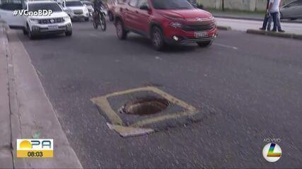 Sem sinalização, bueiro no meio da pista na Augusto Montenegro causa transtornos