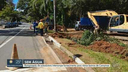 Rompimento de subadutora no Taquaral, em Campinas, deixa moradores sem água