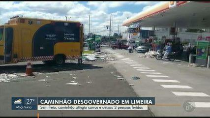 Caminhão desgovernado invade posto de combustíveis em Limeira
