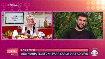 Ana Maria Braga liga ao vivo para Carla Diaz, mas atriz não responde