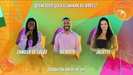 Paredão BBB21: Vote para eliminar. Camilla de lucas, Gilberto ou Juliette?