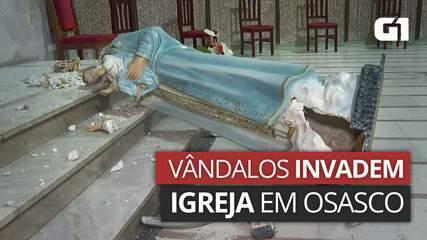 VÍDEO: Vândalos invadem igreja em Osasco e destroem imagens