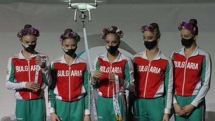 Drones entregam as medalhas na Copa do Mundo de Ginástica