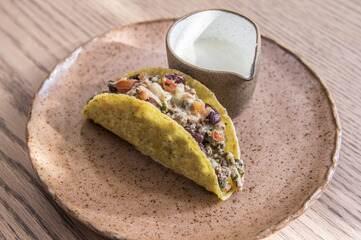 Tacos com chilli e sour cream