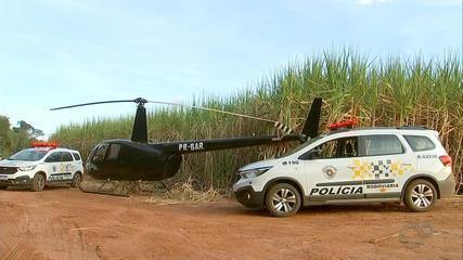 Helicóptero com mais de 150 tijolos cocaína pousa em canavial em Paraguaçu Paulista