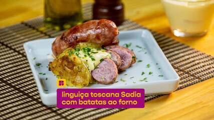 Linguiça toscana com batatas ao forno