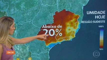 Previsão do tempo: região Sudeste registra queda na umidade relativa do ar