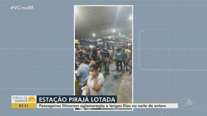 Passageiros registram longas filas com aglomeração na estação Pirajá