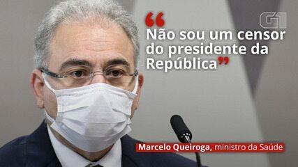 VÍDEO: 'Não sou um censor do presidente da República', diz Queiroga