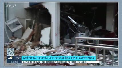 Grupo armado explode agência bancária em Pirapetinga